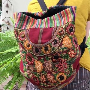 Boho backpack with 💐 flowers